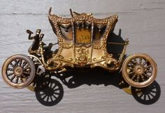 Antique Victorian Gilded Brass Carriage Coronation Coach Figural Tape Measure