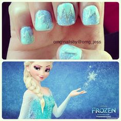 Frozen Disney nail art- so pretty Frozen Nail Art, Disney Frozen Nails, Nails For Kids, Girls Nails, Nail Polish Designs, Cool Nail Designs, Nails Design, Cute Nails, Pretty Nails