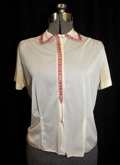 VTG 50's 60's / Rayon Blouse Shirt / Embroidered by CicelysCloset