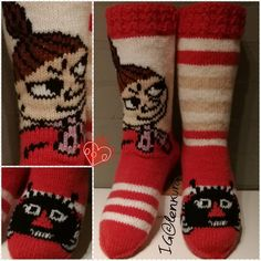 Love these little My Moomin socks Little My Moomin, Tove Jansson, Cool Socks, Knitting Socks, Handicraft, Knitting Patterns, Knit Crochet, Diy And Crafts, Crafty