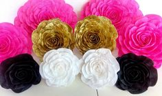10 large paper flowers giant paper flowers bridal kate shower spade baby shower Hot pink gold black white flowers wedding bakdrop Paper wall by flower4you on Etsy