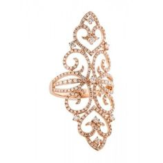 Pre-owned 14K ROSE GOLD DIAMOND FILIGREE COCKTAIL RING (£1,160) ❤ liked on Polyvore featuring jewelry, rings, accessories, bague, filigree ring, engagement rings, 14k diamond ring, round engagement rings and pave diamond ring
