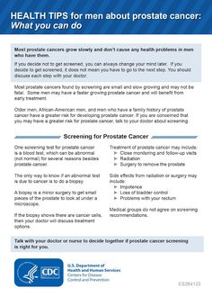 Health Tips for Men About Prostate Cancer: What You Can Do, CDC