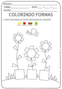 A Arte de Ensinar e Aprender: Atividade pronta - Formas geométricas Shapes Worksheets, Kids Math Worksheets, Learning Activities, Preschool Activities, Numbers Preschool, Preschool Learning, Teaching, Drawing Lessons For Kids, Math For Kids