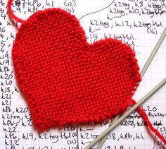 flat knitted heart shape