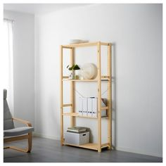 IKEA - IVAR, Shelving unit, Untreated solid pine is a durable natural material that can be painted, oiled or stained according to… At Home Furniture Store, Modern Home Furniture, Modular Furniture, Trofast Ikea, Ikea Shelving Unit, Ikea Regal, Pine Shelves, Foldable Table, Ikea Family