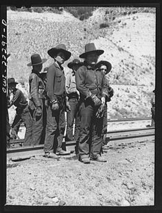 Cajon, California. Group of American Indian workers who were employed on a section gang working on the Atchison, Topeka and Santa Fe Railroad tracks