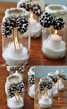 Christmas DIY: Snowcapped Pinecones Snowcapped Pinecones - 12 Magnificent Mason Jar Christmas Decorations You Can Make Yourself candles in mason jars christmas Mason Jar Christmas Decorations, Christmas Mason Jars, Noel Christmas, Winter Decorations, Office Christmas, Christmas Candles, Christmas Music, Christmas Glasses, Pine Cone Decorations