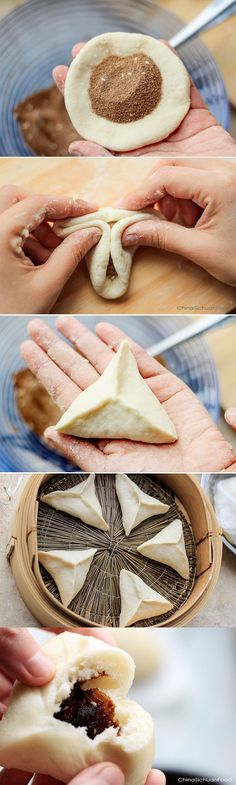 steamed sugar buns (糖三角) Originally, when there is extra wrappers, people will use sugar as the filling. Then it is figured out that sugar buns are also excellent in taste especially if the sugar is properly treated and mixed with stir-fried flour. Asian Desserts, Asian Recipes, Sweet Recipes, Chinese Desserts, Chinese Recipes, Mini Desserts, Orange Recipes, Delicious Desserts, Dessert Recipes