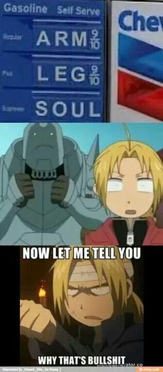 """Fullmetal Alchemist lol! (Sorry for the cussing, even though I didn't make this in the first place, this person should of have him say """"stupid"""" instead)"""