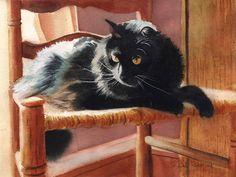 Black Cat Art PRINT of a Watercolor Painting Pet by rachelsstudio