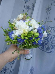 Cornflowers and fresias