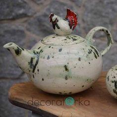 imbryk ceramiczny z kurką na wielkanoc ręcznie robiony