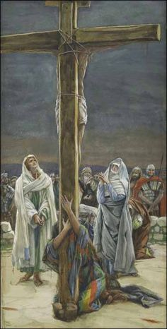 James Tissot - Woman, Behold Thy Son (Stabat Mater). Series: The Life of Our Lord Jesus Christ (La Vie de Notre-Seigneur Jésus-Christ). Brooklyn Museum, New York Religious Pictures, Bible Pictures, Jesus Pictures, Catholic Art, Religious Art, Catholic Daily, Crucifixion Of Jesus, Religion, Jesus Painting