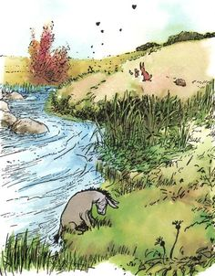 """Eeyore: """"We can't all, and some of us don't. Winnie The Pooh Classic, Winnie The Pooh Quotes, Winnie The Pooh Friends, Children's Book Illustration, Watercolor Illustration, Book Illustrations, Eeyore, Tigger, House At Pooh Corner"""