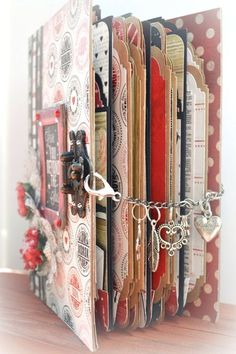 Valentine's Day Envelope Mini Album ~Scraps Of Darkness~ By: Lost Coast Scrapper save old valentines, hearts, lace, reds and whites, silvers, pinks, --this could be a very lovely journal to give to a lovely grandchild*************