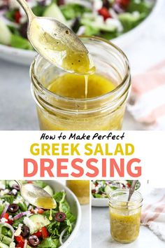 This Greek Salad Dressing tastes better than any store-bought version, and comes together in just minutes. All you need is a few simple ingredients to get started, and you probably already have them on hand! Source by dressing Yummy Recipes, Greek Recipes, Vegetarian Recipes, Cooking Recipes, Healthy Recipes, Lemon Salad Dressings, Salad Dressing Recipes, Best Salad Dressing, Sauces
