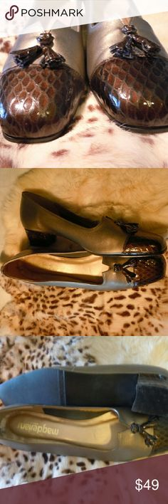 "Magdesians loaters beautiful like new size 10N Exquisite beauty, leather as soft as a baby's bum, and rich color make a subtle yet undeniable statement of sheer class. Deep patent leather brown heel and toe soft pewter balance. 1 1/2"" heel. Blink and they are gone... Magdesians  Shoes Flats & Loafers"