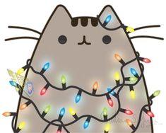Popular and Trending pusheen Stickers on PicsArt Doodles Kawaii, Cute Kawaii Drawings, Cute Animal Drawings, Wallpaper Gatos, Kawaii Wallpaper, Pusheen Christmas, Christmas Cats, Chat Kawaii, Kawaii Cat