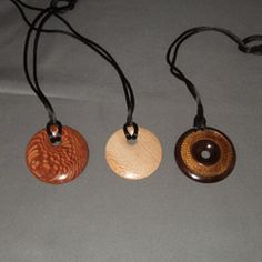 Leopardwood, sycamore and cocobolo pendants ($15 each)