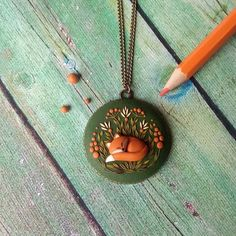 necklace autumn Fox color-Lavender jewelry polymer clay