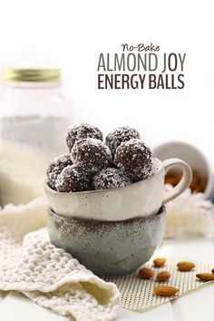 These No-Bake Almond Joy Energy Balls are inspired by the ever popular Almond Joy chocolate bar but without all the gunk! They're gluten-free, vegan AND paleo.