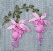 Fuchsia designed and stitched by Lorna Bateman with River Silks silk ribbon