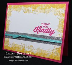 Lovin' The Silver Bling!!! Stampin' Up! Sale-A-Bration Glitter Tape, Timeless Textures Stampin' Up Stamp Set, Bermuda Bay Stitched Ribbon, Perfect Pairings Stamp Set - www.LaurasStampPad.com