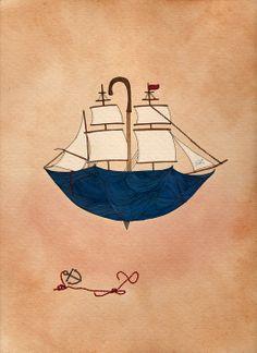 Nautical Print  A4 Print  Sailor Boat Illustration от AlexisWinter, $30.00