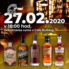 Do nové únorové ochutnávky rumů v Cafe Bulldog jsme pro vás vybrali 5 druhů rumů. Akce se koná 27.02.2020 v 18:00 hod. Cena akce 350 Kč. Guinness, Whisky, Gin, Whiskey Bottle, Drinks, Food, Drinking, Beverages, Essen