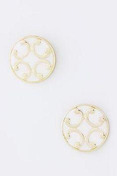 Cinnaryn Joy Filigree Earrings in White