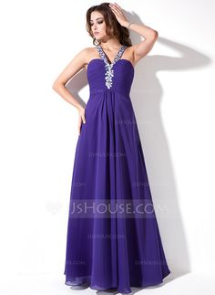 Prom Dresses - $139.99 - A-Line/Princess V-neck Floor-Length Chiffon Prom Dress With Ruffle Beading (018004819) http://jjshouse.com/A-Line-Princess-V-Neck-Floor-Length-Chiffon-Prom-Dress-With-Ruffle-Beading-018004819-g4819?ver=0wdkv5eh