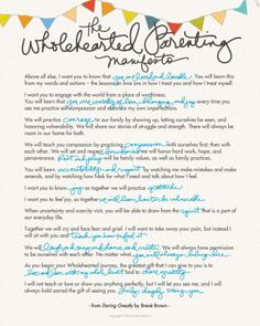 Wholehearted Parenting Manifesto   Brene Brown This is beautiful! Much , many thanks;)