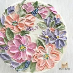 How do I paint the flowers on the cake? Practice from the easy before step on. Paint on cake Online class. Cake Icing, Buttercream Cake, Eat Cake, Cupcake Cakes, Frosting, Pretty Cakes, Cute Cakes, Beautiful Cakes, Amazing Cakes