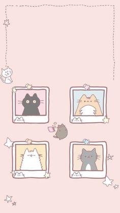 盼 盼 自 自 - Hintergrundbild - # 夏 # 盼 # 自 - katzen - Wallpapers Kawaii, Cute Cartoon Wallpapers, Cute Pastel Wallpaper, Kawaii Wallpaper, Neko Atsume Wallpaper, Walpapers Cute, Cute Art, Black Cat Art, Cute Kawaii Drawings