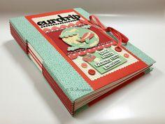 """Caderno com encadernação em scrapbook """"Eurotrip"""""""