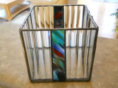 4 X 4 Stained glass candle holder Stained Glass Light, Stained Glass Designs, Stained Glass Projects, Stained Glass Patterns, Stained Glass Windows, Glass Votive Holders, Glass Room, Glass Boxes, Mosaic Glass