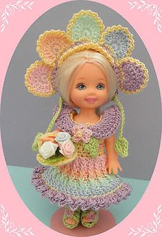 """Crochet Doll Clothes Rainbow Flowers Outfit for 4 ½"""" Kelly Same Sized Dolls   eBay"""