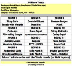 60 minute Tabata Workout: each round 20/10 for 4 min