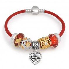 Bling Jewelry Sterling Silver Grandma Heart Bead Bracelet Pandora Compatible