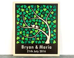 Libro 3D alternativa boda árbol madera invitado libro por Wedding3D