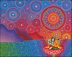 Lord Shiva and Parvati on Lotus in creative art painting