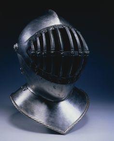 Helmet with Barred Visor, Century England (?), century (visor and neck lames modern, by S. Medieval Helmets, Medieval Armor, Knight In Shining Armor, Knight Armor, Arm Armor, Body Armor, Renaissance, Types Of Armor, Ancient Armor
