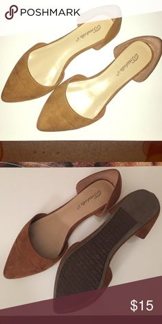 Brown Swede Pointed Toe Flats Brown suede, worn once. Great condition! Breckelles Shoes Flats & Loafers
