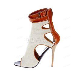 Peep Toe Stiletto Heel Slip-On Ankle Womens Boots