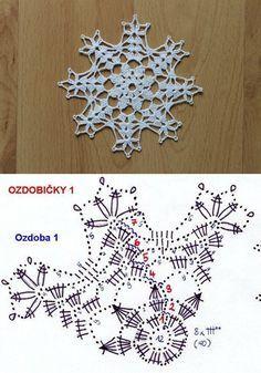 Crochet Snowflake Pattern, Crochet Stars, Crochet Snowflakes, Crochet Flower Patterns, Crochet Mandala, Thread Crochet, Crochet Motif, Crochet Doilies, Crochet Flowers