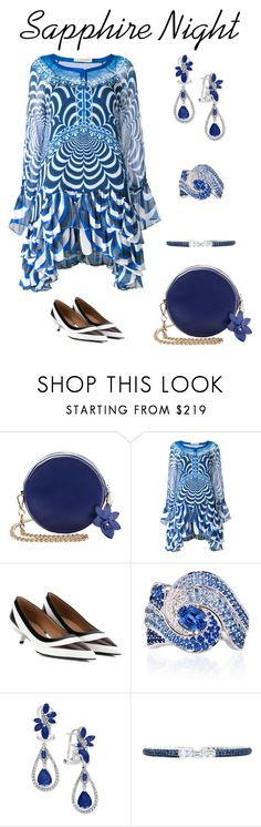 """Sapphire Night"" by karen-galves ❤ liked on Polyvore featuring Mary Katrantzou, VanLeles, Effy Jewelry and Martin Katz"