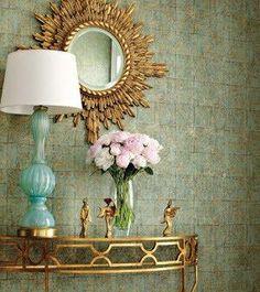 Aqua and gold Entry hall idea  - (Thibaut Design - Thibaut wallpaper, gold sunburst mirror, gold demilune table and ...)