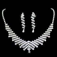 Ladies Crystal In Sliver Alloy Wedding Jewelry Set With Necklace & Earrings – USD $ 12.99