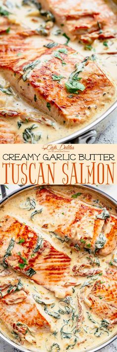 Creamy Garlic Butter Tuscan Salmon is a restaurant quality pan seared salmon in . - Creamy Garlic Butter Tuscan Salmon is a restaurant quality pan seared salmon in – Salmon Recipes - Salmon Recipes, Seafood Recipes, Dinner Recipes, Cooking Recipes, Healthy Recipes, Tuscan Salmon Recipe, Salmon Meals, Whole30 Recipes, Kitchen Recipes